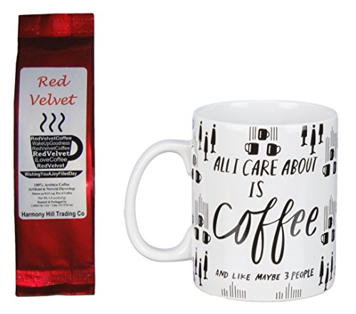 All I Care About is Coffee and Like Maybe 3 People Mug and Red Velvet Words Coffee Gift Set Bundle (2 Items)