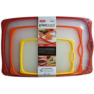 Dexas Grippboard with Non-Slip Edge, Reversible, Juice Well, Dishwasher Safe, BPA Free Kitchen Cutting Boards (Set of 3)