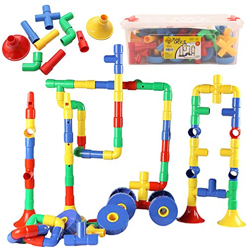 Smart Builder Toys Tube Locks Set 64 Pcs with Wheels and Music Parts with Plastic Container (View All Photos)
