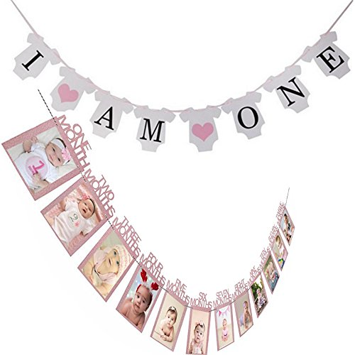 JETTINGBUY Baby Girl First Birthday Decoration Set,1-12 Month Photo Banner,Personalised Baby Photo Banner,Baby Girls 1st Birthday Bunting Banners I AM ONE,Baby Room -