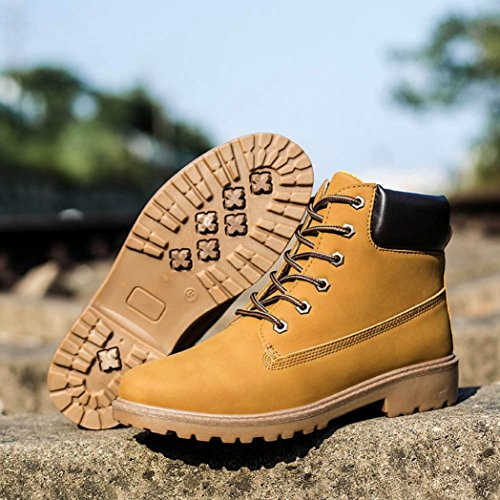 Amiley Mens Ankle Boots Anti-slip Winter Warm Lace Up High-Top Snow Boots Shoes Yellow Yoc3Grq