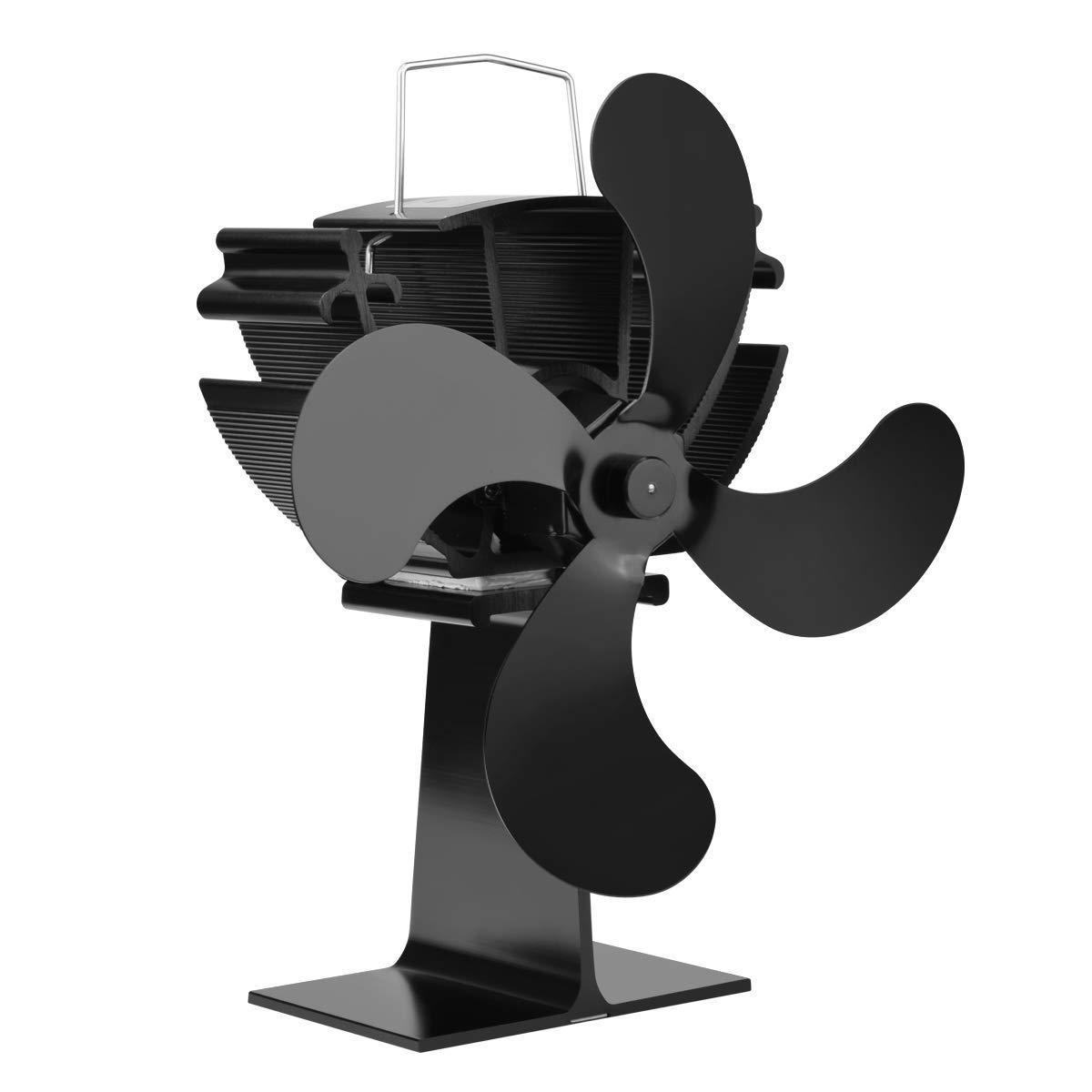 DazSpirit Stromloser Ventilator f/ür Kamin Ventilator Umweltfreundlich mit 4 Rotorbl/ätter Ofenventilator Ohne Strom Kaminofen Ventilator Holzofen Ventilator Upgrade f/ür 2019 Schwarz