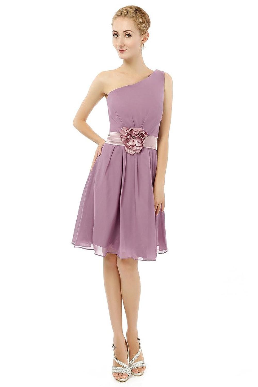 HONGFUYU One Shoulder Chiffon Short Bridesmaid Dress Formal Wedding Evening Party Gown