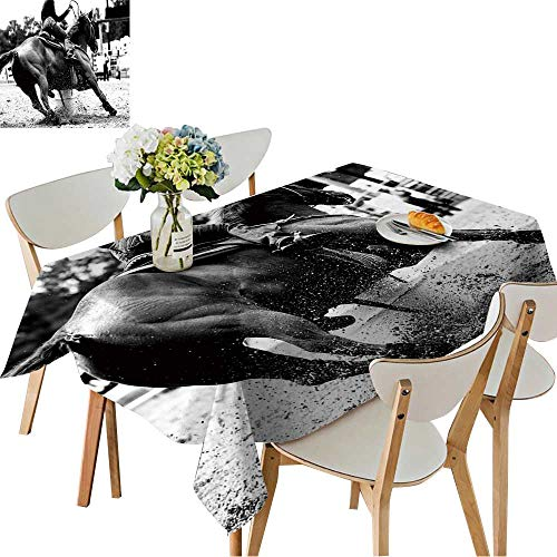 UHOO2018 Square/Rectangle Polyester Table Cloth High Contrast,Black and White Closeup of a Rodeo Barrel Racer Making a Turn Easy Care Spillproof,54 ()