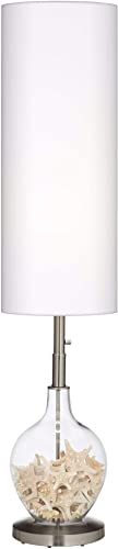 Modern Contemporary Standing Floor Lamp Fillable Clear Glass OVO Brushed Nickel Silver Tall White Linen Cylinder Shade Decor
