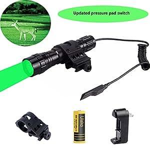 Ulako Green light LED Varmint Predator Coyote Hog Pig Hunting Light Flashlight with Offset Mount