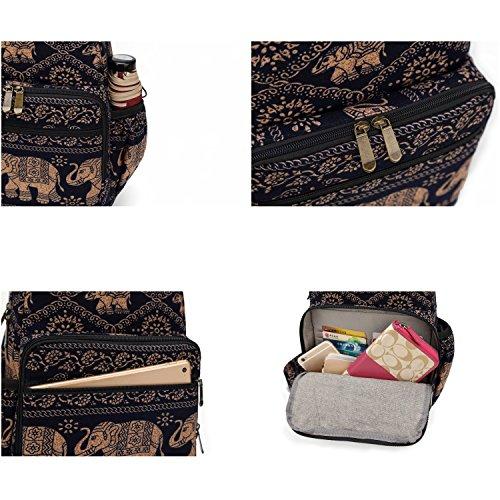 MIANZI Women Sling Bag Outdoor Sport Canvas Large capacity Crossbody Shoulder Cotton Fashion Backpack (Black) by MIANZI (Image #8)