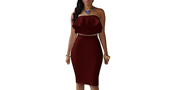7264ccf67 comEiffel Women's Off Shoulder Ruffle Crop Top Pencil Skirt Dress Two-Piece  Set (Large, Burgundy) | Amazon