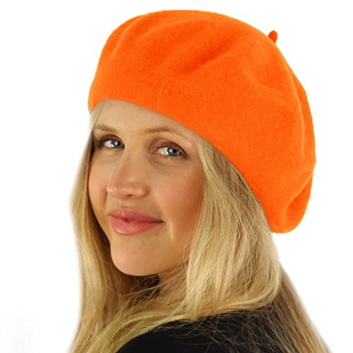Classic Winter 100% Wool Warm French Art Basque Beret Tam Beanie Hat Cap Orange