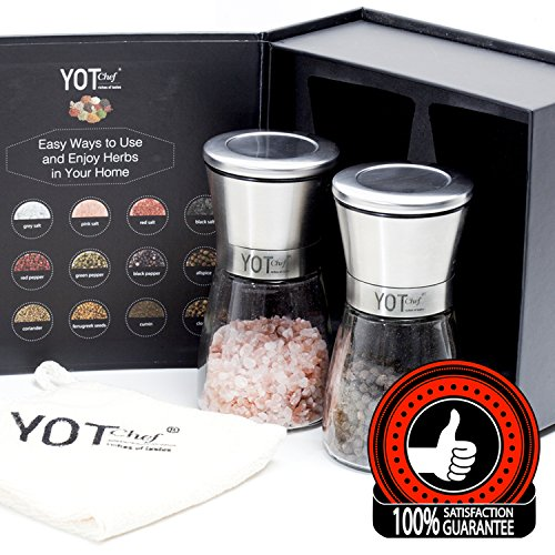Chefs Salt And Pepper Set - Salt and Pepper Grinder Set - Adjustable Pepper Grinder, Spice Grinder, Salt Grinder – Ceramic Salt and Pepper Shakers – Great Gift for the Foodie, Home Cook, or Pro Chef by YOT Chef