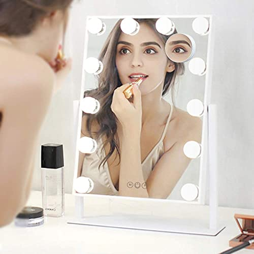 FENCHILIN Lighted Makeup Mirror Hollywood Mirror Vanity Makeup mirror with Light Smart Touch Control 3Colors Dimable Light Detachable 10X Magnification 360 rotation