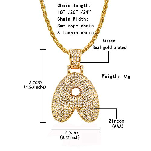 Z AIJIAO Bubble Letter Chain Customize Name Necklace with Diamonds for Women Men Hip Hop Iced Out Tennis Chain Initial Pendant A