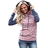 ღ Ninasill ღ Long Sleeve Feather Print Hoodie Sweatshirt Hooded Pullover (L, Pink)