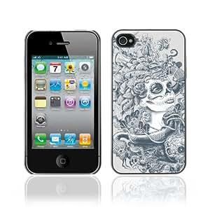 CaseCaptain Carcasa Funda Case - Apple iPhone 4 / 4S / Sugar Skull Abstract Art /