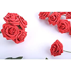 Egles Artificial Flower 20pcs Fake Flowers with Stems, Red Rose for Gif DIY Wedding Centerpieces Arrangements Birthday Home Party Bouquets Decor 4