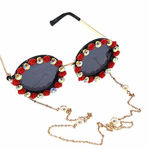 mujer Eyewear para Gold mujer Metal Retro Style Gafas Tassel de para varios de disponibles Flower a Baroque Chain colores Sunglass romántica mano sol en Gafas roja Crystal Rose lentes de sol hecha REEPt
