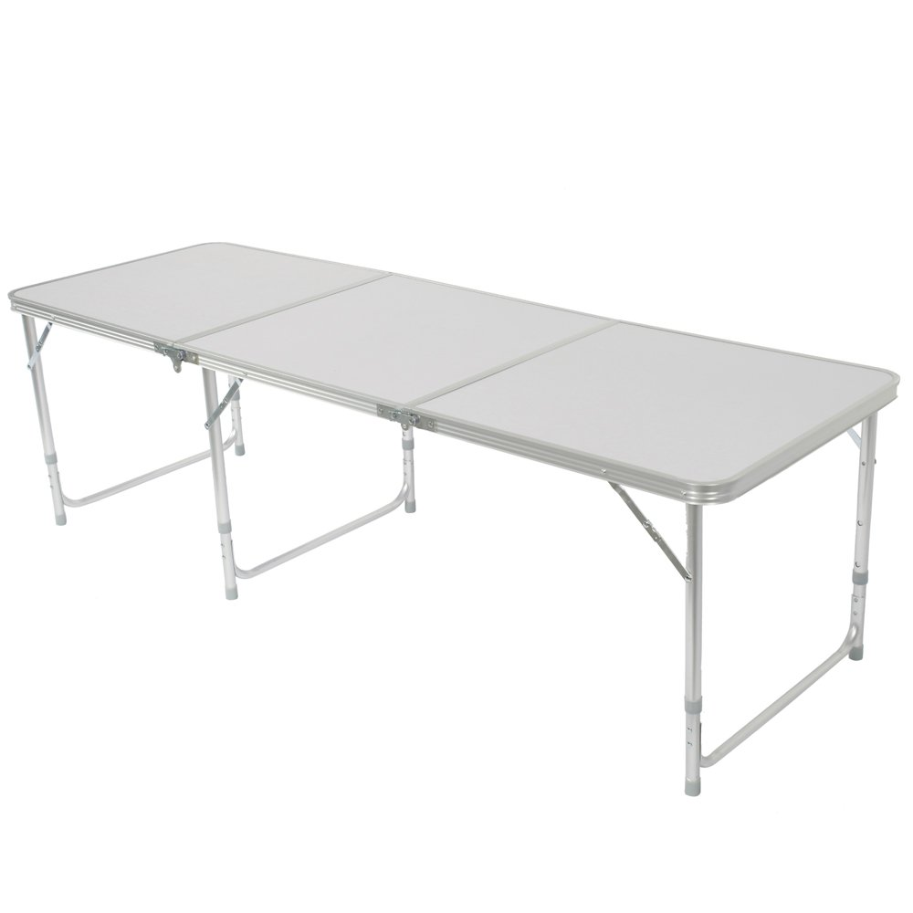 Z ZTDM Aluminum Alloy 3-Fold Camping Table, Folding as a Carry Bag Adjustable Height Light Weight & Stability, Outstanding Length 71', Perfect for Family Reunions, Picnics, Camping Trips, Buffets,BBQ Outstanding Length 71
