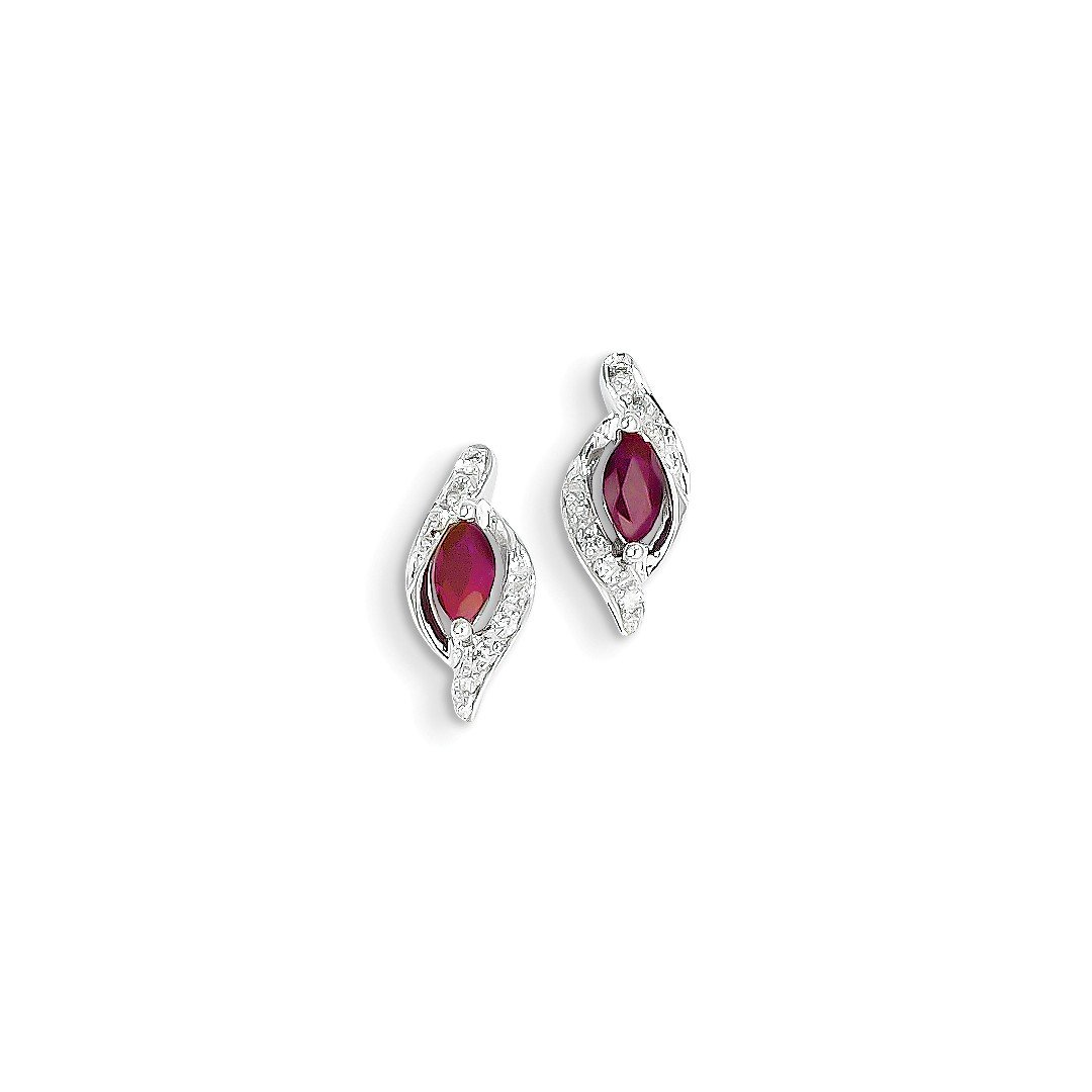 ICE CARATS 14k White Gold Diamond Red Ruby Post Stud Ball Button Earrings Fine Jewelry Gift Set For Women Heart