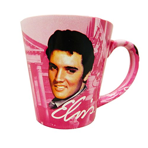 Elvis Presley The King Graceland Pink w/Guitars Ceramic Latte Coffee Mug