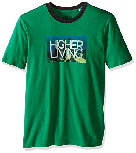 prAna Men's Higher Living Logo Ringer T-Shirt, X-Large, Peacock Eyes - Eye Ringer T-shirt