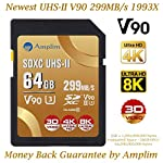 Amplim extreme high speed 32gb uhs-ii v90 sdxc sd card for 4k 8k uhd video camera camcorder 19 ultra high performance sd card: blazing speed 1900x (285mb/s) transfer rate. Twice the read speed of 1000x card. Newest sd association sd 5. 0 specs v60+ video rating provides 4k continuing shooting (other uhs-ii cards without v ratings are last generation sd 4. 0 cards). Top rated uhs-ii u3 class10 pro extreme turbo fast high capacity sd card for latest uhs-ii sdxc (sd xc) compatible cameras, accessories, usb-c sd card reader, microsoft surface book 2 and super fast 3d hdr 360 4k dslr and 3d professional photographer memory card: 32, 64 128 and 256 gig uhs-ii high capacity cards for dslr and mirrorless uhs-ii video cameras (sony, fuji, leica, nikon, olympus, panasonic, samsung). Sony alpha a9 a7 a7r mark iii sf card cyber-shot rx1r ii; fujifilm fuji x-t1 x-pro2 x-t2 gfx 50s x-h1 x-e3; leica sl type 601 m10; nikon d850 d500 fx; olympus om-d e-m5 ii om-d e-m10 ii iii pen-f om-d e-m1 mark ii; panasonic lumix dc-g9 gh5s gh5 gh4; samsung nx1; black magic ursa; support all uhs-ii devices backward compatible with uhs-i cameras (note: speed of uhs-ii card will be limited by the uhs-i sd slot): sony cyber-shot dsc w800 w830 dsch300 alpha a7r ii dsc-rx10 iv a6500 a9 a6300 a99 ii; canon powershot sx720 sx730 sx530 hs elph 180 190 is g7 x 5d mark iv iii ii eos 80d 5ds r rebel t7i t6 t5 kiss x70 x9 x9i 1300d 1200d m100 sl2 200d m56d m10 m677d 9000d 800d; nikon coolpix l32 l340 b500 d3400 d5300 d3300 d750 d7200 d7500 d5600