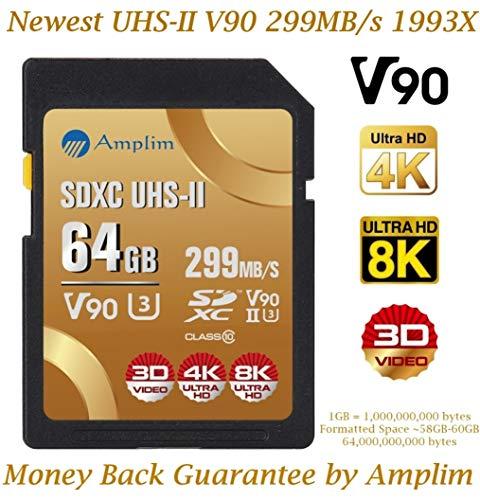 64GB V90 UHS-II SDXC SD Card - Amplim Blazing Fast 299MB/s (1993X) UHSII U3 Extreme Pro Speed 64 GB / 64G SD XC Memory Card. Professional 4K 8K Video Camera Camcorder TF Flash Storage Card - New 2019 (Best Digital Camcorder 2019)