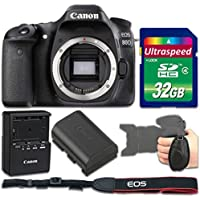 Canon EOS 80D DSLR Camera (Body Only) + 32gb Memory SD Card + Grip Strap - International Version (No Warranty)
