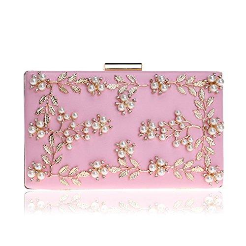 Pink Clutch Flower Clutch Evening Handbag Bag DCRYWRX Party Bag Dinner Evening Appliques Pearl Mini Bag fga6qF