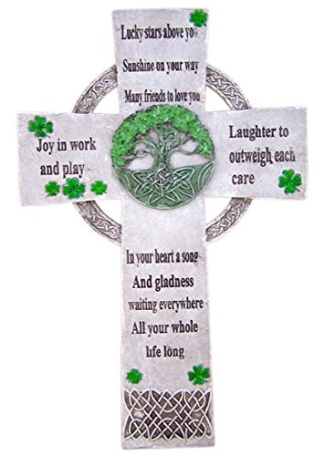 Green Clover Irish Celtic Resin Wall Cross with Lucky Star Blessing, 13 3/4 Inch Irish Home Blessing Cross