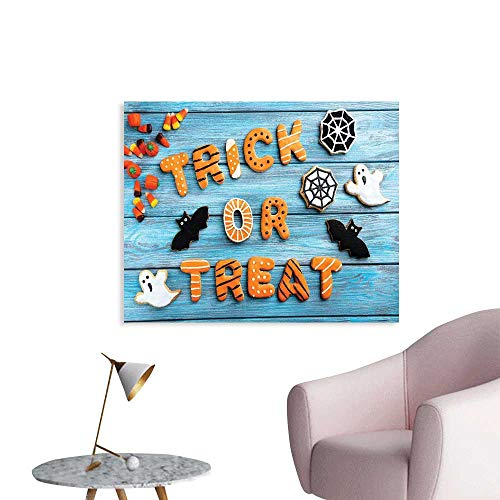 J Chief Sky Vintage Halloween Wallpaper Sticker Trick or Treat Cookie Wooden Table Ghost Bat Web Halloween Decor Mural for Home W36 xL32