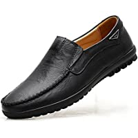 VanciLin Men's Casual Leather Shoes Fur Lined Slip-on Loafers Driving Shoes