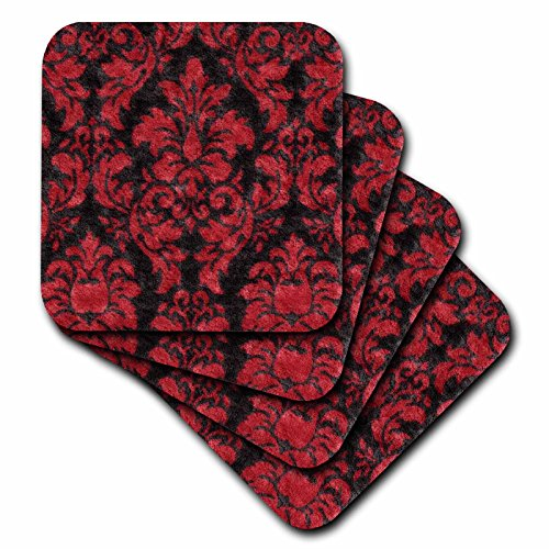 3dRose cst_62562_3 Victorian Red N Black Damask-Ceramic Tile Coasters, Set of 4 (Tile Victorian Ceramic)