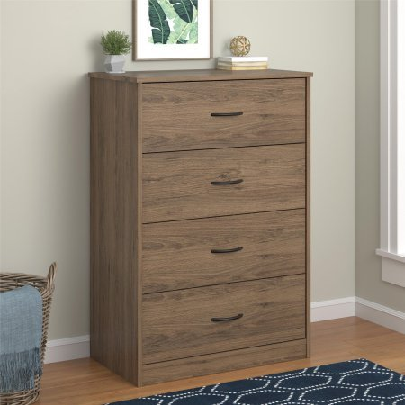 4-Drawer Chest Storage Office in Rustick Oak - Chest Of Drawers