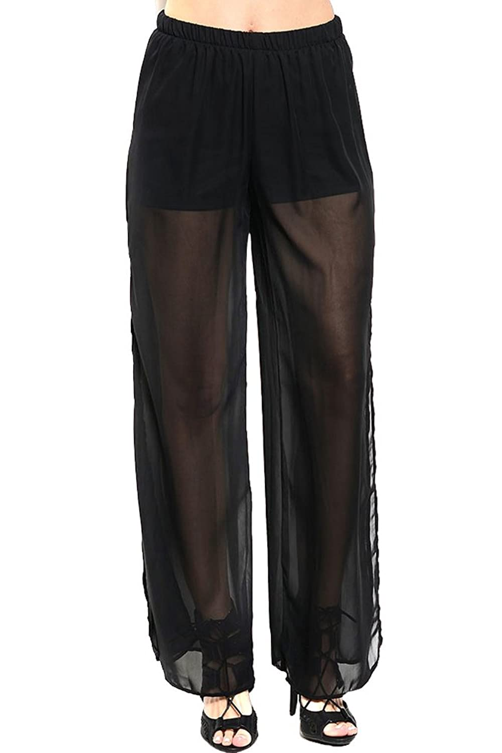 On Trend For Less Womens Partially Sheer Flowing Pants