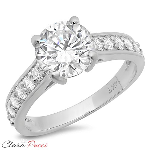 2.45 Ct Brilliant Round Cut Solitaire Promise Engagement Wedding Bridal Anniversary Ring Accent 14K White Gold, Clara Pucci