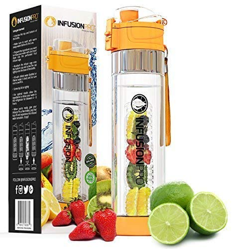 Infuser Water Bottle - Fruit Infused Water Bottle Infuser Drop Proof and Durable - Infusion Cup Recipes with Detox Benefits