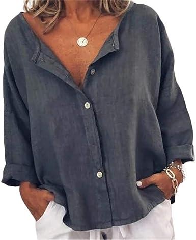 Ai.Moichien Camiseta con Cuello En V De Manga Larga para ...