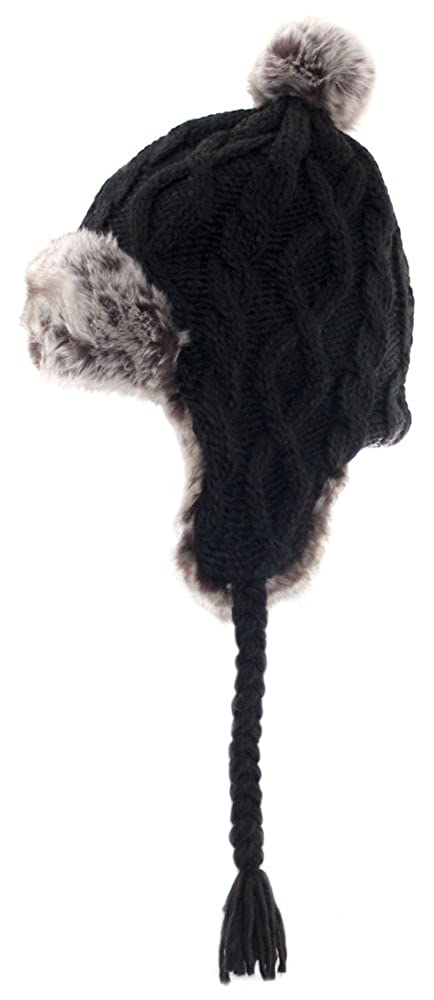Aran Traditions Knited Faux Fur Winter Warm Black Trapper Hat