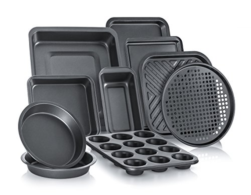 Perlli Complete Bakeware Set 10-Piece Non-Stick, Oven Crisper, Pizza Tray, Roasting, Loaf, Muffin, Square, 2 Round Cake Baking Pans, Large and Medium Nonstick Cookie Sheet Bake Ware for Home -