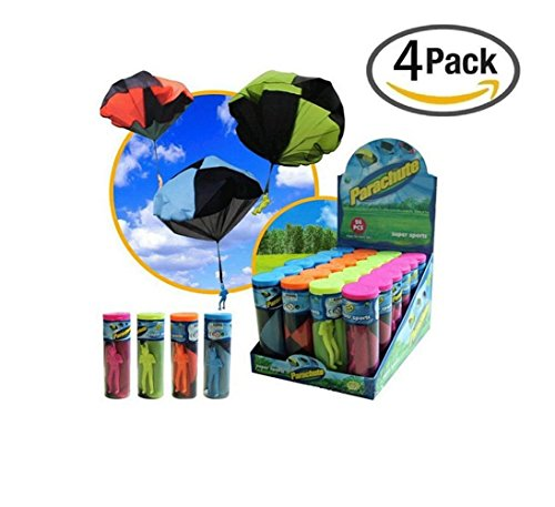PaulSports GLOW Tangle Free Toy Parachute Soldier Men Base Jumpers Kids Hand Throwing Parachute Classic Operated Cloth Jump Fly Toys Simply toss it high and watch it (Tangle Free Toy Parachute)