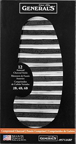 Generals Compressed Charcoal - Generals General's Pencil Compressed Charcoal Assortment, Black, Pack of 12 - 1296501
