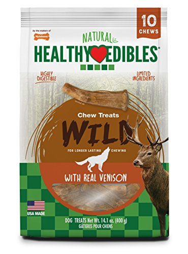 Edible Bone - Nylabone Healthy Edibles Natural Venison Dog Treats, Medium, 10 Count