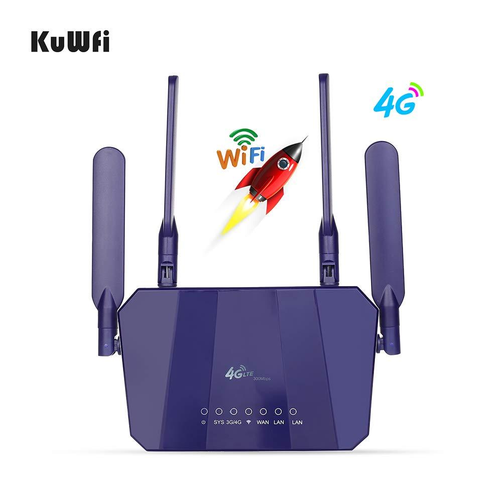KuWFi Router Inalámbrico 4G LTE, 300 Mbps Mobile Modem 4G Ap WiFi ...