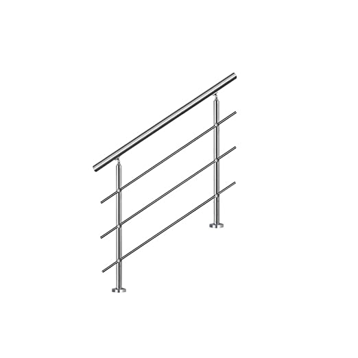 SAILUN 80cm pasamanos barandillas acero inoxidable con 3 postes parapeto,para escaleras,barandilla,balcón