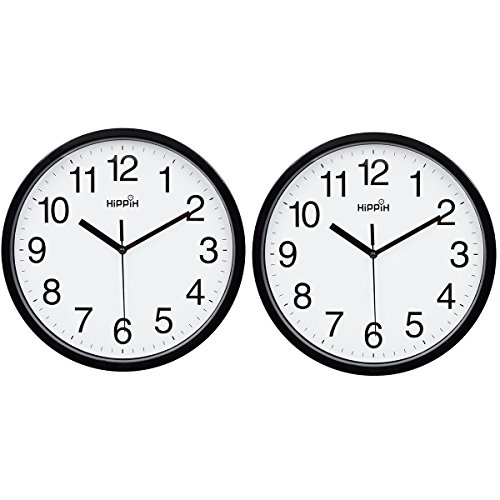 Hippih 10 Silent Quartz Decorative Wall Clock Non-ticking Digital(Black)(2 pack)