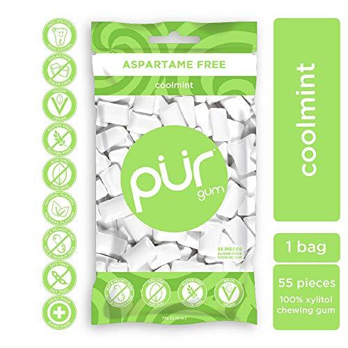 PUR 100% Xylitol Chewing Gum, Coolmint, 55 Pieces per Bag - Sugar-Free + Aspartame Free, Vegan + non GMO
