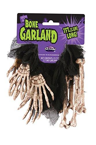 7' Bone (7' Skeleton Bone Metallic Skeleton Hand Halloween Garland)