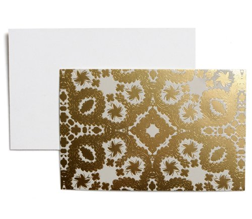 Correspondence Set (Christian Lacroix Oro Y Plata Correspondence Cards, 3.5 x 5 Inches, Set of 12 Cards and Envelopes, Silver and Gold (19545))