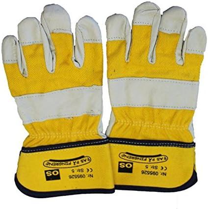OS Niños Guantes de trabajo jardín guantes KIDS Amarillo/Gris Piel Varios. tamaños: Amazon.es: Jardín