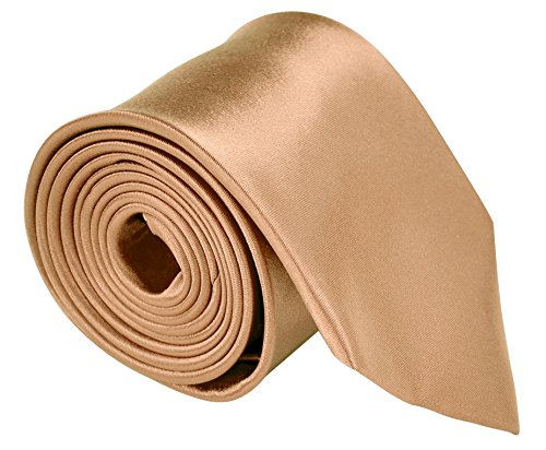Neckties For Men 3.5 Microfiber Woven Satin Solid Color Ties - Peach